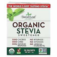 Sweet Leaf Organic Stevia Sweetener - 35 Count - 95%+ Organic - Zero Calories