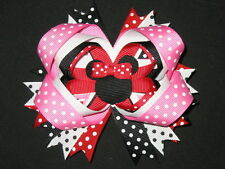 "NEW ""MINNIE MOUSE"" Hairbow Alligator Clip Girls Ribbon Hair Bows Disney Vacation"