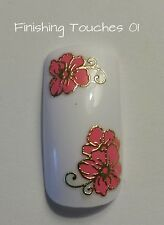 Flower Nail Art Sticker - 3D Pink Metallic Gold Decal #255 TJ030 Transfer Wrap