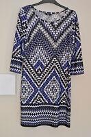 Ladies Multicolur Casual Tunic Dress Size 8 3/4 Sleeve Geometric Print