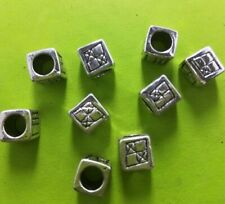 80pcs Tibet Silver Cube Big Hole Bead Spacers 7.5x7.5mm 14439