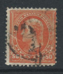 USA 1895 SG278 50c deep orange - used - small faults. Catalogue £46
