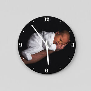 PERSONALIZED GIFT! LARGE SIZE 44cm photo printed circle wall clock, white hands