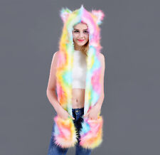 Colorful Faux Fur Animal Ears Hat Gloves Mittens Long Scarf Snood Hood Paws