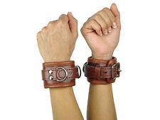 Handfesseln gepolstert und abschließbar braun Leder Fesseln BDSM Art.Nr. 3143