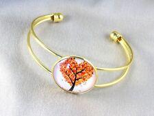 Bracelet doré cabochon rond Arbre Coeur Orange Rouge Jaune Noir