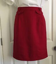 Talbots Women's Skirt Size 10 Red 100% Wool Knee-Length Pencil Skirt Lined
