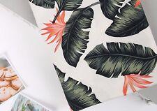 Banana leaf ivory 100% Cotton Fabric BY HALF YARD plant digital print JC9/13+