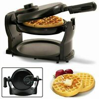 BELGIAN WAFFLE MAKER Rotating Commercial Non Stick Round Waffles Breakfast Iron