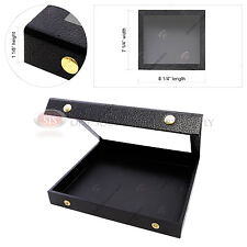 Acrylic Top Display Presentation Case Half Size Wood Covered Faux Leather Snaps