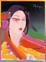 PETER MAX POSTER-ASIAN GIRL-BRIGHT AND COLORFUL-FACSIMILE SIGNED CT#42