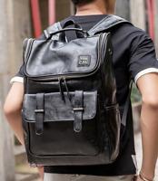 Mens Black Leather Travel Backpack Laptop Vintage Schoool Satchel Shoulder Bag