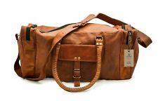 Mens Vintage Retro Genuine Leather travel duffle weekend bag lightweight luggage