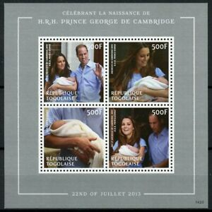 Togo Royalty Stamps 2014 MNH Prince George Royal Baby William & Kate 4v M/S