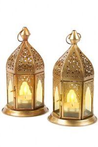 2 Set Orientalische Marokkanische Laterne Windlicht Garten Vintage Tischlaterne