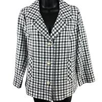 Southern Lady Black & White Checkered Button Up Jacket Women's Size 10P