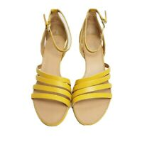 Franco Sarto 8.5 M yellow leather strappy ankle strap wedges 2.75in  heels Della