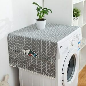 Cloth Washing Machine Cover Towel Geometric Refrigerator Dust Cover Double Open