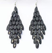 RF BLACK Peacock  Tail Style Light Alloy Stone Long Dangle Hook Drop Earrings
