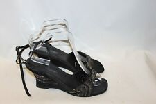 Ladies Black Beaded Shoes Size 7 Amber Wedge Heels