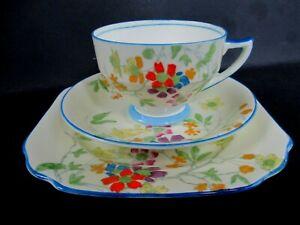 Art Deco Vintage China Tea Set Trio.Radfords Fenton China.5491.Hand Painted. VGC