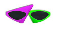80s To The Maxx Totally Stylin' Sunglasses Neon Pink Green 2 Tone Abstract Retro