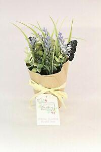 Lavender Faux Flower Plant Pot Homeware Decor Table Decoration