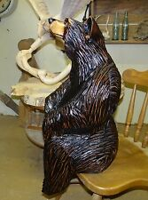 "Chainsaw Carved Sitting Black Bear Unique ""One of a Kind""  Cypress Carving"