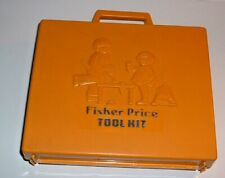 Vintage 1977 Fisher Price Tool Kit Toy Tools Playset Set case Working Drill