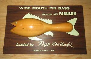 VTG 1964 Fabulon Advertisement Fishing Trophy Plaque Silver Lake Roger Houthoofd