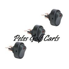 Golf Cart 12 Volt Light Switches On Off Red LED 3 Pack Club Car Ezgo Yamaha