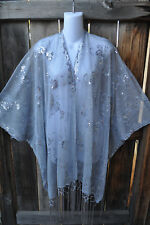 ART TO WEAR GLAM SEQUIN EMBROIDERED SHORT KIMONO JACKET IN SILVER & GRAY, OS+!