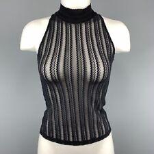 CLAUDE MONTANA Size M Black Lace Mesh Mock Neck Crop Top