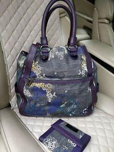 John Galliano Gazette Print Cotton Purple Leather Trim Shoulder Bag Satchel Tote