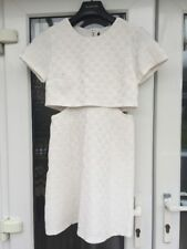 TOPSHOP White Cut Out Textured Skater Dress Size 8