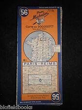 Vintage french MICHELIN carte de Paris/Reims (feuille 56/Carte de France) c1945