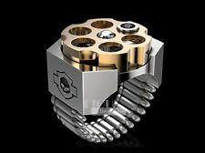 Harley Davidson Russian roulette Solid 925 Sterling silver Men's Biker ring