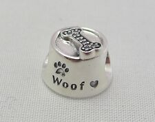NEW Authentic Pandora 925 Sterling Silver Charm Woof, Dog Bowl, 791708CZ