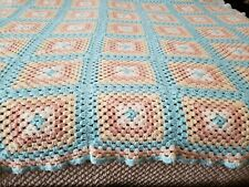 "Afghan Throw Blanket Crochet Handmade Approx 91"" x 79"""