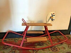 Fab Vintage Retro 1950 Metal Rocking Horse Decor, Nursery Childrens Decor Toy