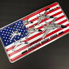 Support Operation Desert Storm License Plate Patriotic Flag Fighter Planes 1991