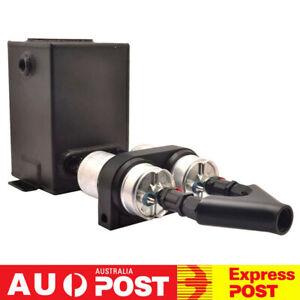 3L Black Fuel Surge Tank W/ 044 Fuel Pumps Twin Bracket Check Valves Y-Block Kit