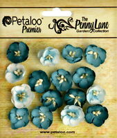 Forget Me Nots DARK TEAL BLUE 16 Paper Flowers 20mm across Penny Lane Petaloo
