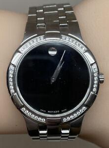 Movado Metio 0605984 38mm Stainless Steel Factory Diamond Black Dial Watch