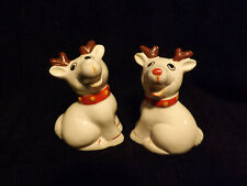 Ceramic Christmas Reindeer Figurine Salt and Pepper Shakers