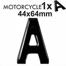 3D Gel Black MOTORCYCLE Bike number plate Dome Resin Making Letter A UK REG 64mm