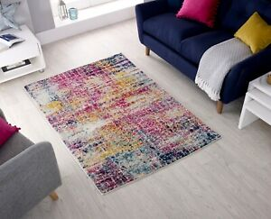 URBAN ABSTRACT SMALL X LARGE PINK MULTI SOFT DURABLE RUG & RUNNER