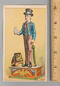 RARE Antique Advertising Trade Card Uncle Sam Toy Cast Iron Mechanical Bank NR