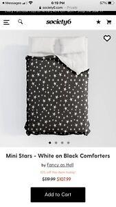 NEW designer Society6 Mini stars full comforter black and white