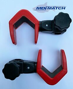 MDI Match Fishing Up & Over Pole Rod Rests fits Round & Square Box Legs Red